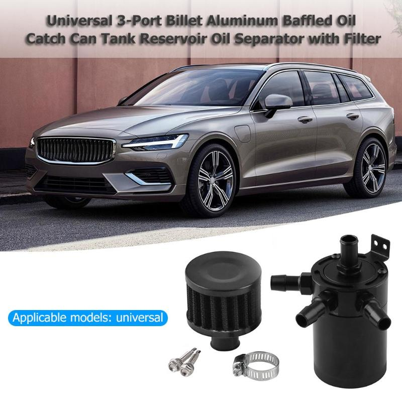 Universal 3-Port Billet Aluminum Baffled Oil Catch Can Tank Reservoir Oil Separator With Filter Engine Invert Fuel Tanks