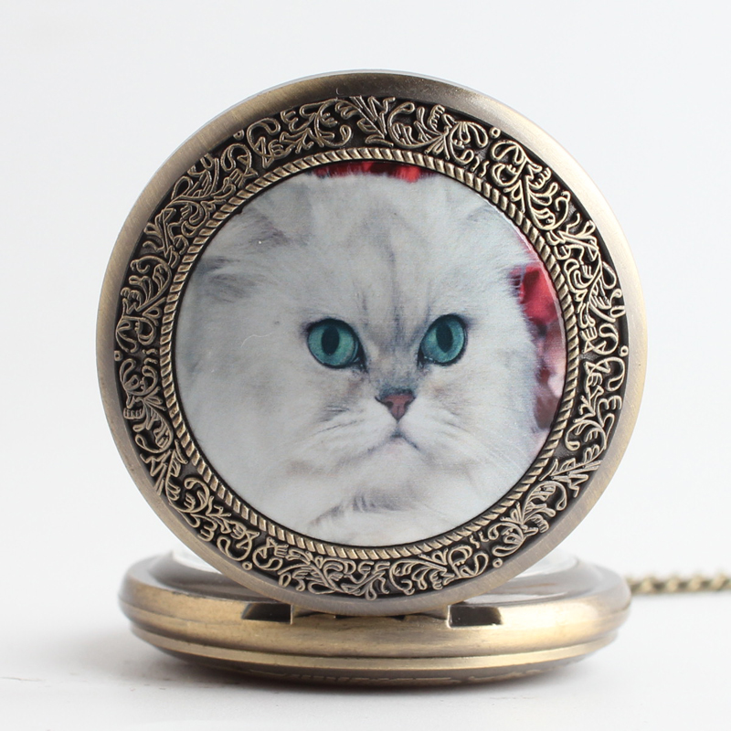 Pocket & Fob Watches Bronze White  Elegant Cat Animal Quartz Pocket Watch Pendant Chain Necklace for Women/Men Watch Gift