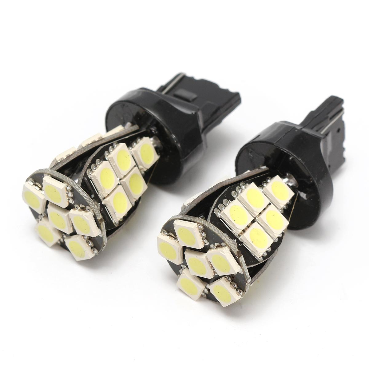 Pair <font><b>T20</b></font> <font><b>W21</b></font>/<font><b>5W</b></font> 7440 LED DRL Sidelight Bulbs Stop Parking Lamps License Plate Light CANBUS NO ERROR image