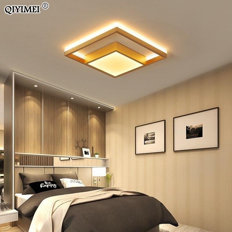 Carré Led plafonniers salon chambre à coucher télécommande lampara De Techo Moderna or café cadre luminaires à la maison