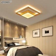 Kare Led tavan ışıkları oturma odası yatak odası uzaktan kumanda Lamparas De Techo Moderna altın kahve çerçeve ev armatürleri