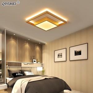 Image 1 - Kare Led tavan ışıkları oturma odası yatak odası uzaktan kumanda Lamparas De Techo Moderna altın kahve çerçeve ev armatürleri
