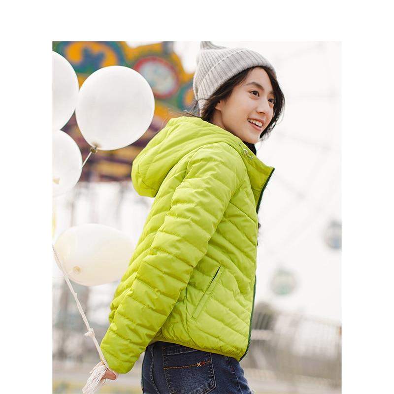 Image 3 - INMAN Spring Autumn Hooded Loose Casual Short Coat Women Down JacketDown Coats
