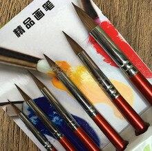 6 Pcs Top Cấp Giá Trị Kolinsky Sable Tóc Vòng Điểm Sơn Bàn Chải Bộ cho Vẽ Bằng Bột Màu Acrylic Bức Tranh Màu Nước TỰ LÀM Thủ Công