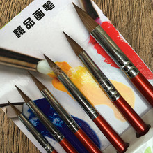 6 Pcs Üst Sınıf Değeri Kolinsky Sable Saç Yuvarlak Noktası Boya Fırçası Guaj Akrilik Suluboya Resim DIY Craft için Set