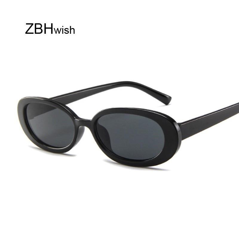 Стильные Овальные Солнцезащитные очки, женские винтажные Ретро очки в круглой оправе, белые мужские солнцезащитные очки, женские черные прозрачные очки в стиле хип хоп, UV400 Женские солнцезащитные очки      АлиЭкспресс