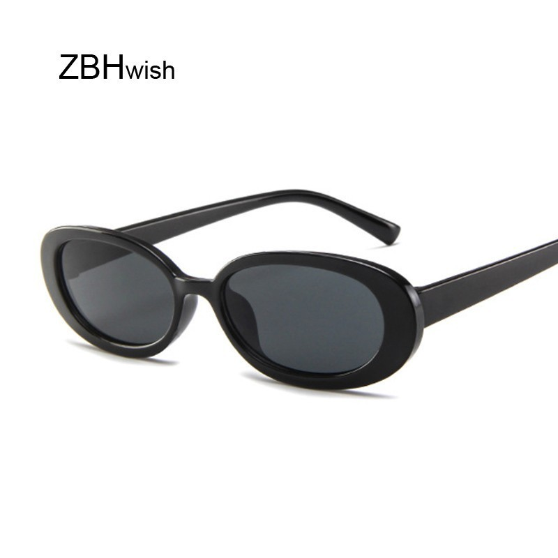 Style Oval Sunglasses Women Vintage Retro Round Frame White Mens Sun Glasses Female Black Hip Hop Clear Glasses UV400