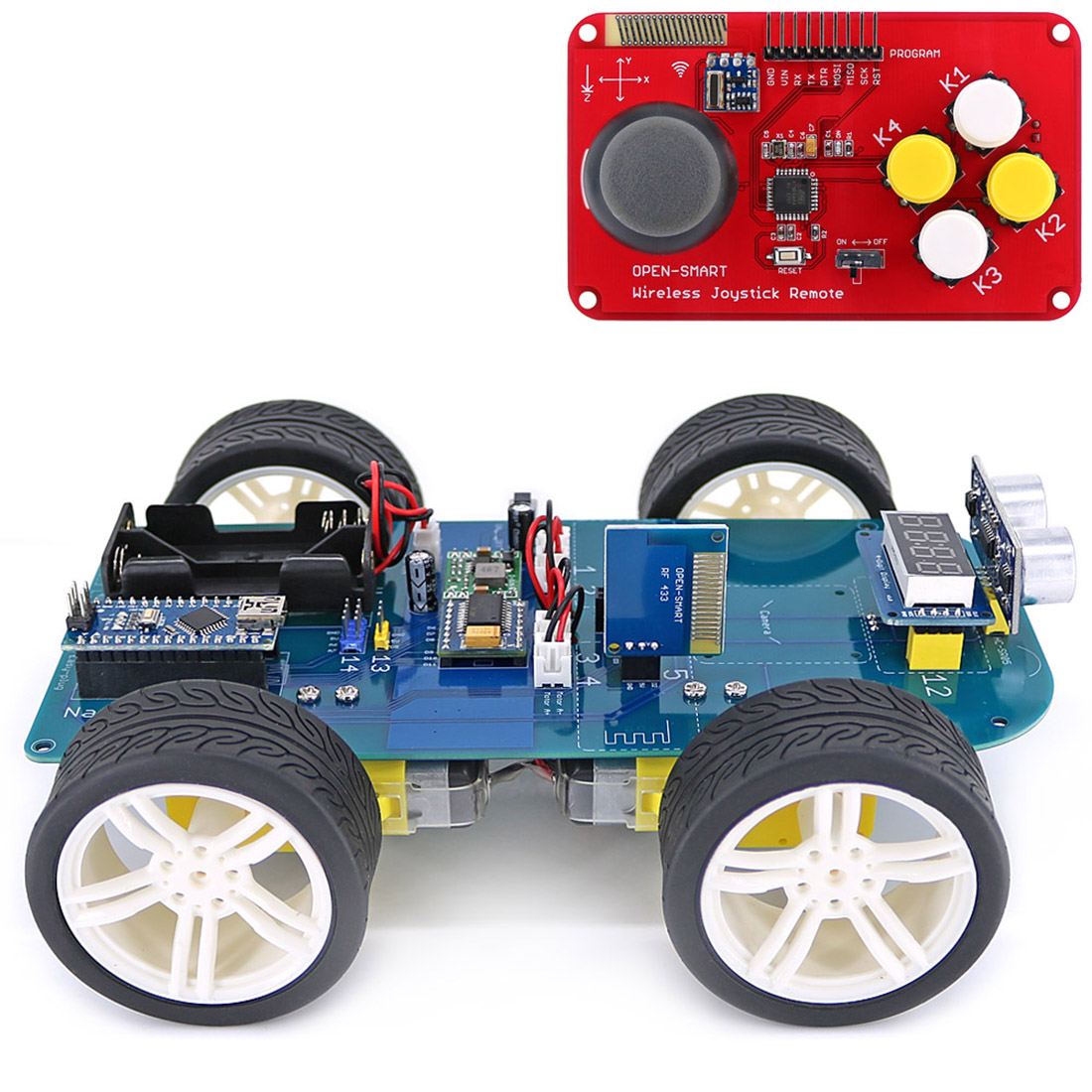 4WD 433MHz Wireless JoyStick Remote Control Rubber Wheel Gear Motor DIY Smart Car Kit For Arduino High-tech Programmable Toy