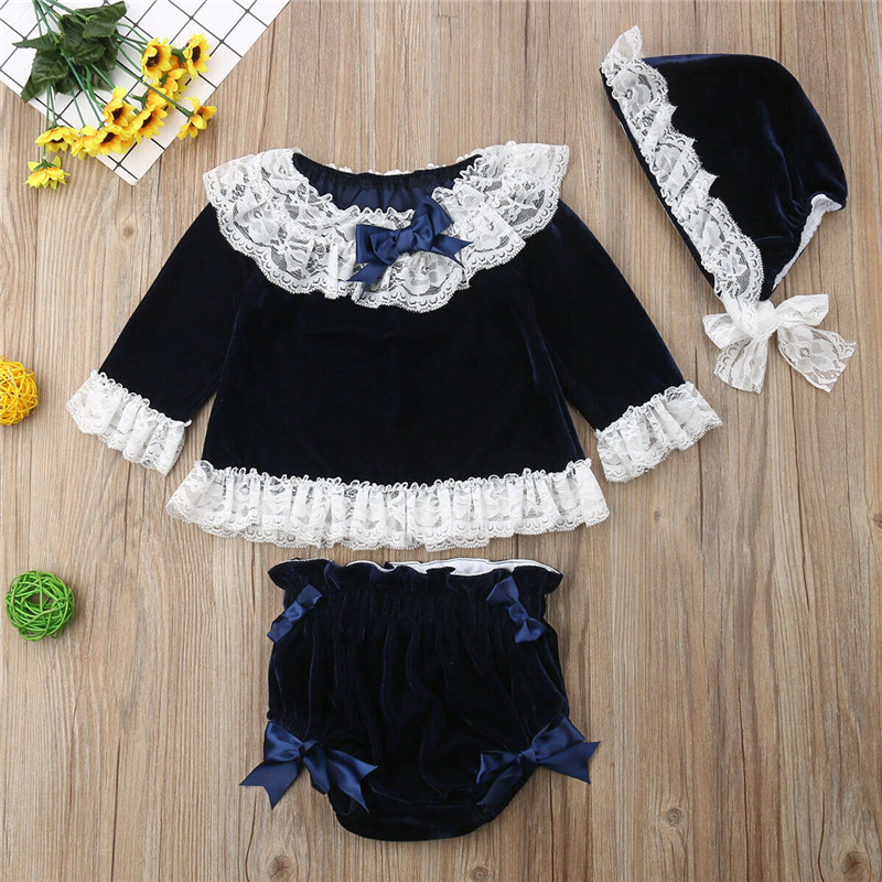 Fashion 2019 Adorable Kid Baby Girls Lace Velvet Tops Dress Pants Shorts Hat Outfit Clothes