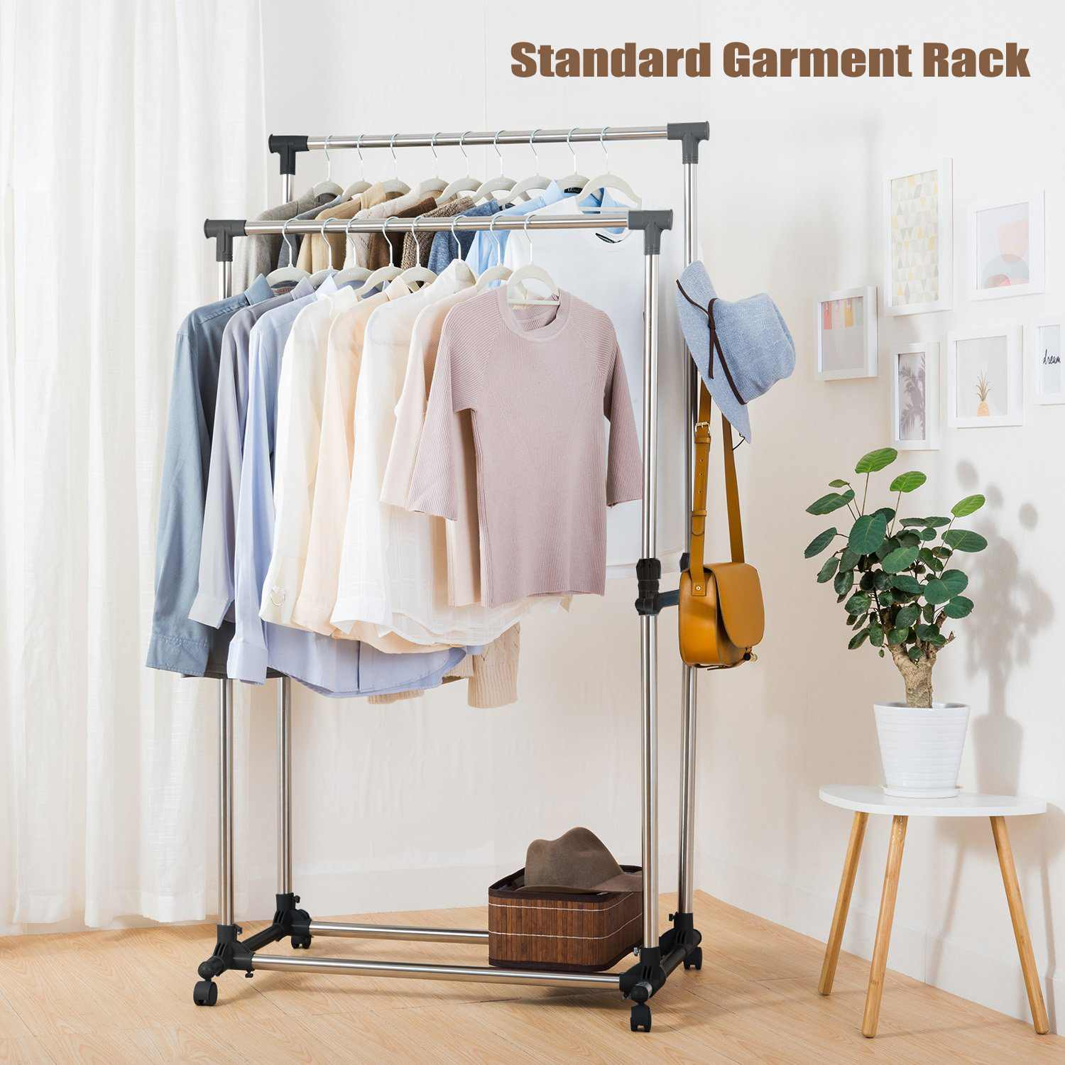 Stainless Steel Adjustable Double Single Clothes Coat Garment Dryer Rack Rail Hanging Hanger 61 155cmStainless Steel Adjustable Double Single Clothes Coat Garment Dryer Rack Rail Hanging Hanger 61 155cm
