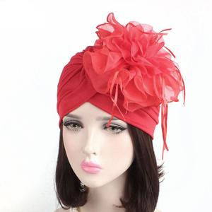Image 2 - Indian Women Muslim Retro Turban Hat Big Flower Bonnet Lace Hair Loss Head Scarf Wrap Caps Pleated Tassel Chemo Hat Beanies New