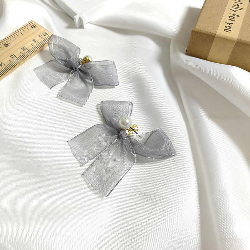 Fashion Korea Concise Temperament Sweet Gray Lace Muslin Bow Knot Pearl Drop Earrings For Women Jewelry Oorbellen Accessories