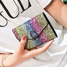 Sequins Wallet Fashion Short Section 3 Folder Multi-Card Womens Mini Coin Purse