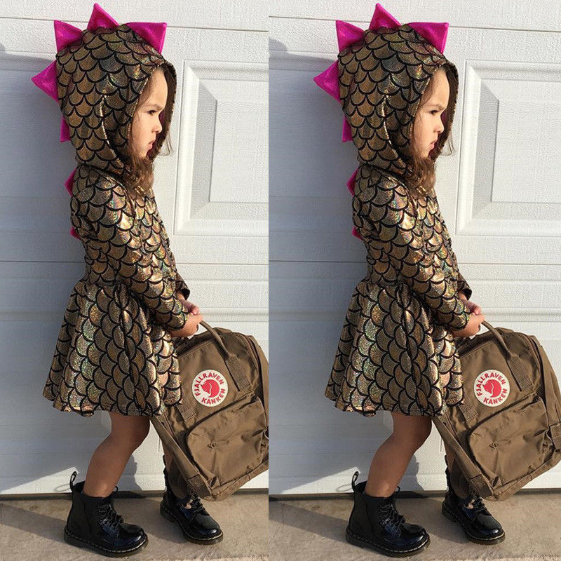 Pudcoco Girl Dress Outfit Costume Dinosaur Baby-Girl-Scale Toddler Party Pageant Kid