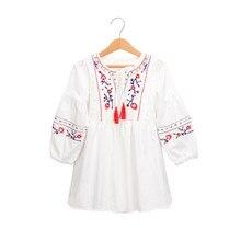 6204419aa2 2019 nowa wiosna z długim rękawem chiński styl sukienka wiek 3-10 lat  dziewczynki luźne