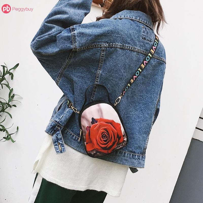 Mini Koreanische Stil Mädchen Floral Print Schulter Messenger Tasche kawaii Kleine Leder Handtasche für Frauen Sling Umhängetaschen