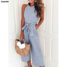 Striped printed high waist jumpsuits and rompers Women sleeveless jumpsuit with belt 2018 Summer new wide leg pants playsuits striped belt wide leg pants