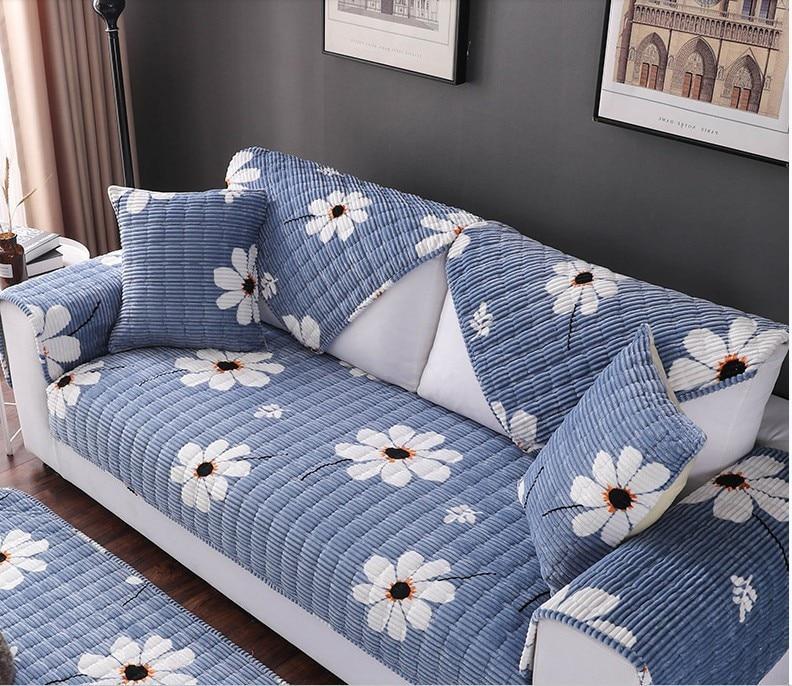 US $8.26 36% OFF|1 Pcs Stripe Sofa Towel Plush Fabric Sofa Cover High Grade  Thick Sofa Cushion Leather Sofa Slip Towel Small Daisy Pattern-in Sofa ...