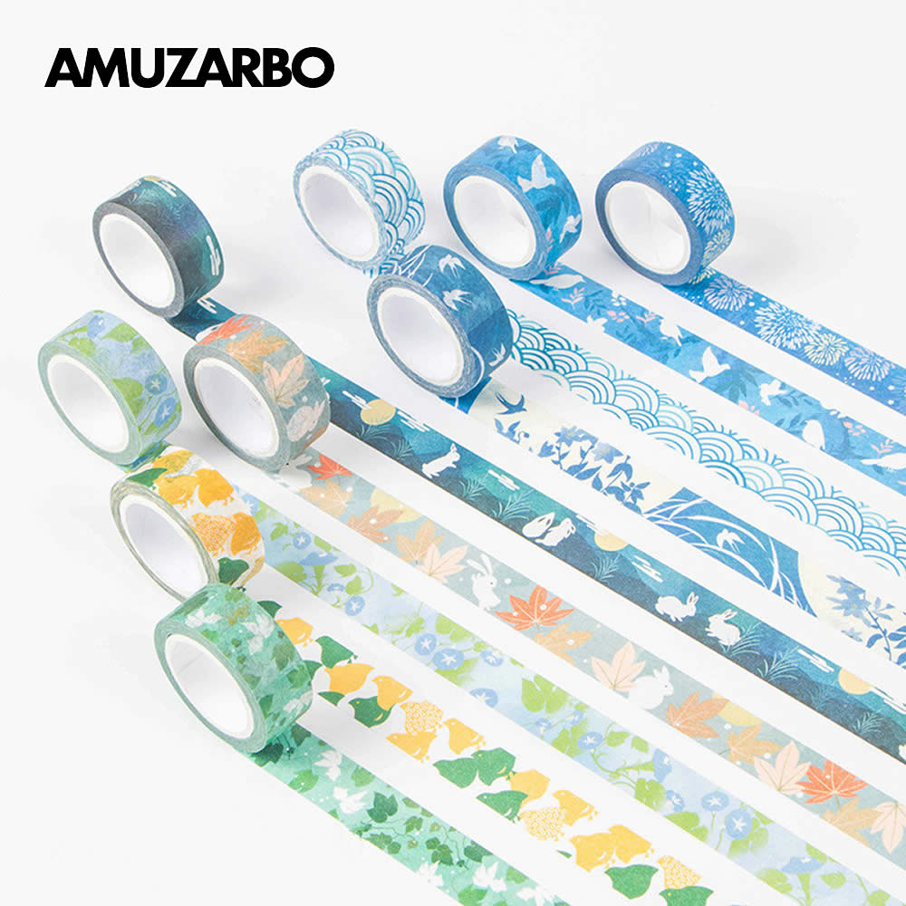 15mm X 10m Kawaii Kyoto Series Washi Tape Masking Stickers Scrapbooking Japanese Cute Stationary Scrapbook Supplies