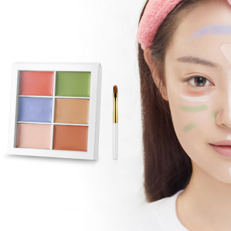 Six-Color Oil Control Concealer Cover Acne Marks Scar Invisible Pore Concealer Natural Waterproof Lasting Concealer Plate