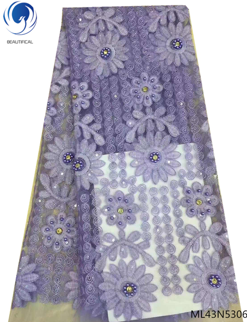 BEAUTIFICAL guangzhou lace fabric net lace embroidery fabric purple color bridal lace fabrics for clothing 5yards/piece ML43N53