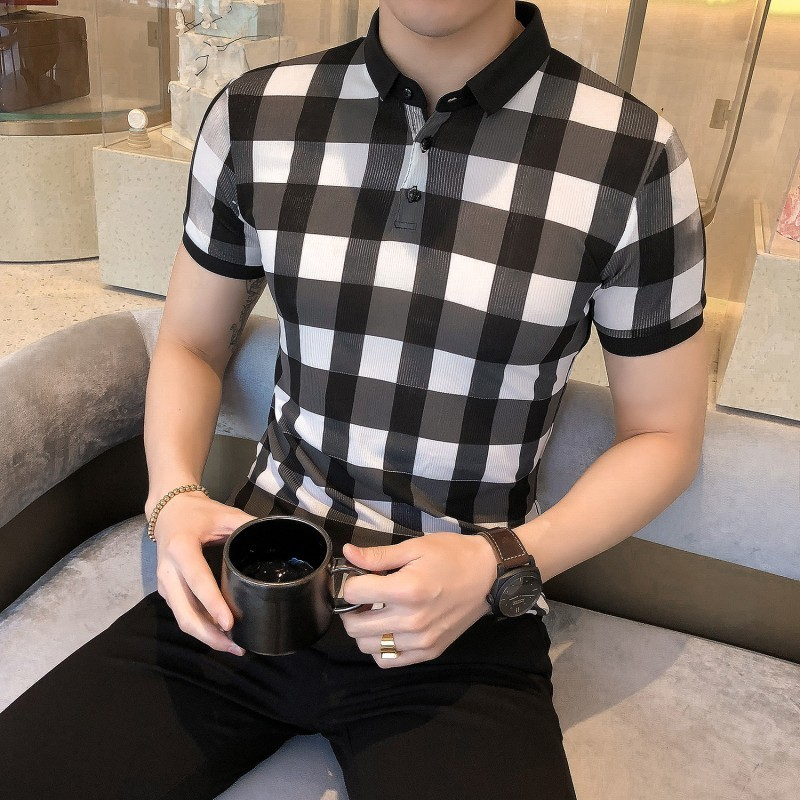 Casual Plaid Printing   Polo   Homme Turn Down Collar Summer   Polo   Shirt Men Fashion 2019 ClassicMale Short Sleeve   Polos   Shirts