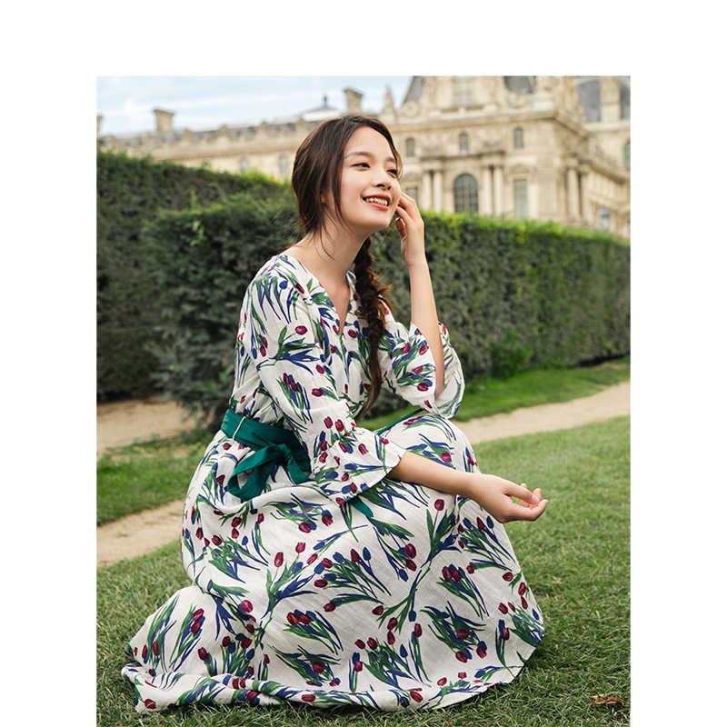 INMAN 2019 весеннее новое поступление с v-образным вырезом в ретро-стиле с цветочным принтом, в стиле ретро, для отдыха, тонкое свободное женское длинное платье трапециевидной формы