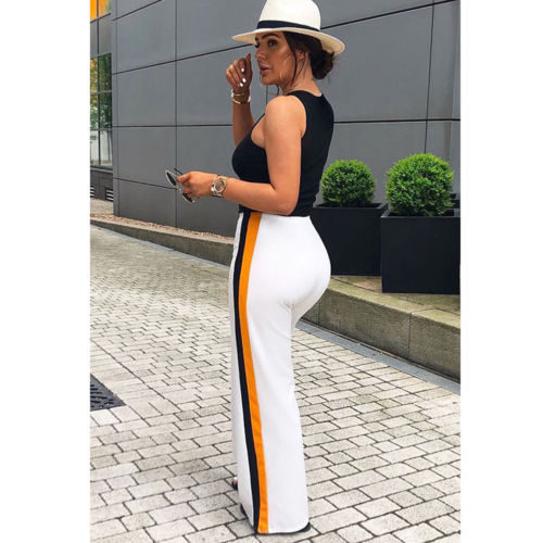 New Summer Women's Casual Slim Loose Trousers Sexy High Waist Stripe   Wide     Leg     Pants