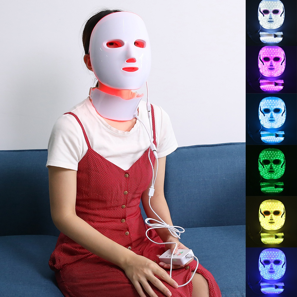7 Colors Photon Electric LED Facial Mask Skin Rejuvenation Face Neck Skin Tightening Acne Wrinkle Beauty Machine