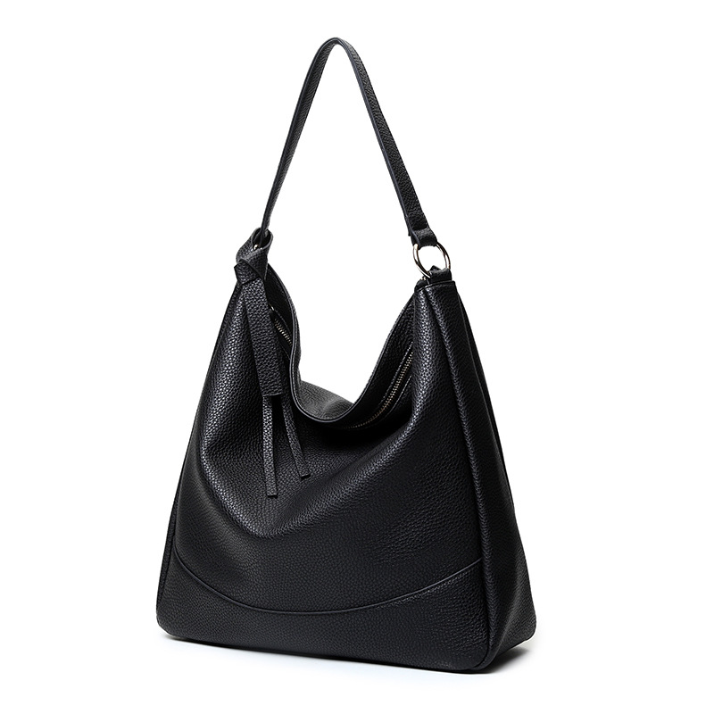Big Hobo Handbag Soft Leather Large Tote Bag Solid Color Female Shoulder Bags Black Red Office Lady Handbags