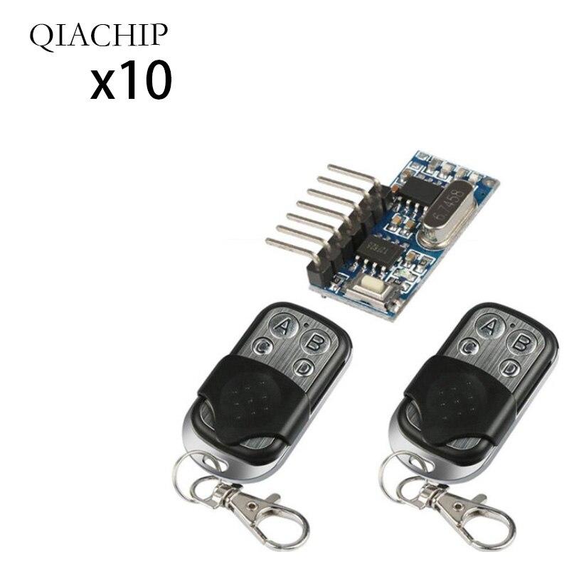 10 pièces 433 Mhz Télécommande + 433 Mhz Sans Fil Récepteur Code D'apprentissage 1527 Module de décodage 4Ch Sortie Bouton D'apprentissage bricolage