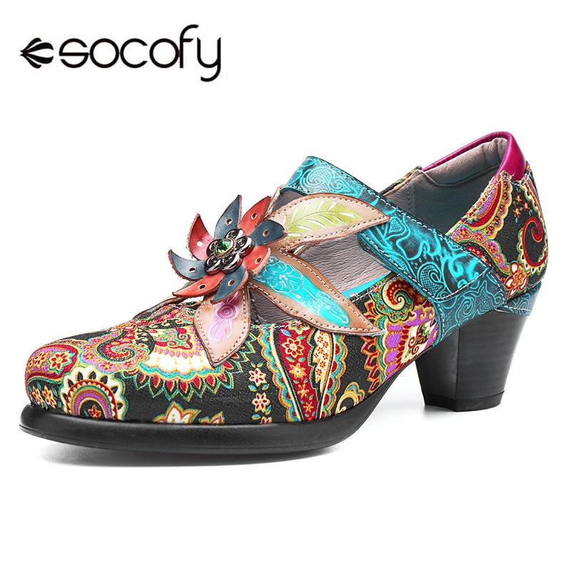 Socofy Ladies Shoes High-Heels Vintage-Style Bohemian Genuine-Leather Women Spring Fashion