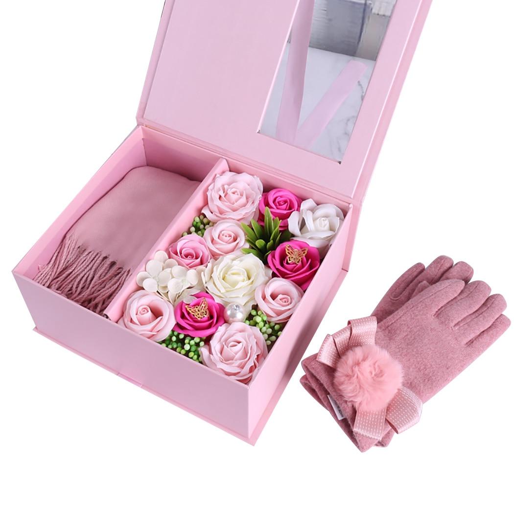 Avancée Savon écharpe fleur Main Ensemble coffret cadeau cadeau de noël À Envoyer Valentine'S Day cadeau d'anniversaire Festival du Jour de Mère
