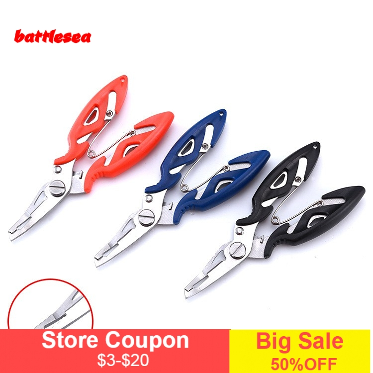 Battlesea FISH 1PCS Stainless Steel Fishing Pliers with package 3 Colors Scissors Line Cutter Remove Hook