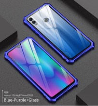 Huawei P Smart 2019 Bumper Glass Back Cover with Aluminum Metal Frame Case for Honor 10 Lite