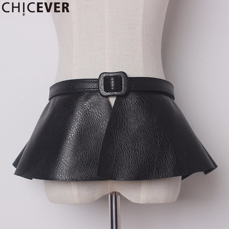 CHICEVER Vintage PU Leather Female Belts For Women Cummerbunds Fake Two Pieces Black Women's Cummerbunds Fashion Casual 2019