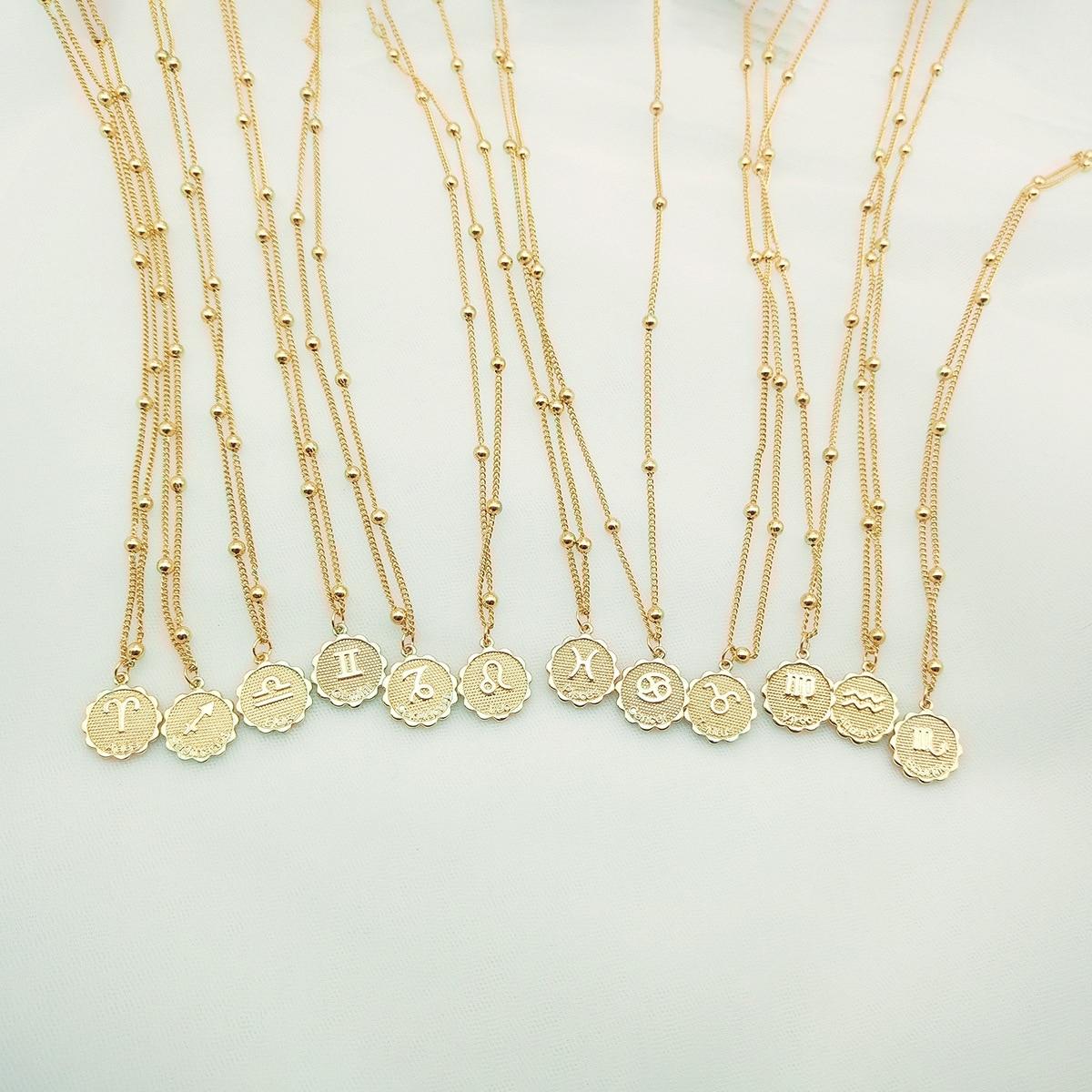 Collier zodiaque colliers Constellation Femme souvenir céleste Bijoux vierge taureau Leo Gemini pendentif Collier Bijoux Femme
