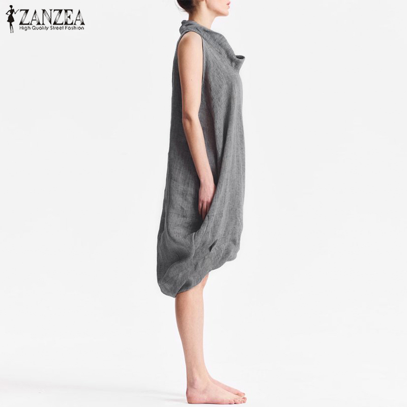 ZANZEA Women Cotton Linen Solid Knee length Dress 2019 Summer Sarafans Female Work Office Vestido Casual Party Baggy Tanks Dress in Dresses from Women 39 s Clothing
