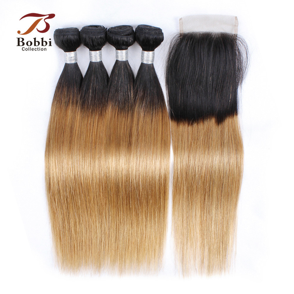 BOBBI COLLECTION T 1B 27 Ombre Honey Blonde Straight 3 4 Bundles With Closure Indian Hair
