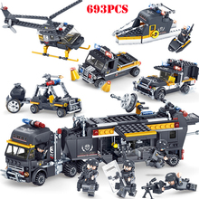 5 In 1 Building Blocks Military Swat Figures Team Police Truck Car Helicopter Boat Bricks Compatible Legoing City Toys WJ074
