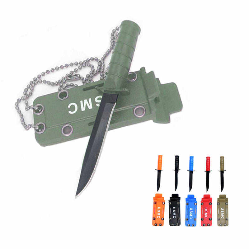 Portable Mini Necklace Outdoor Hunt Survive Hike Edc Pocket Self letter package open opener Blade Fruit Knife Camp Defense box