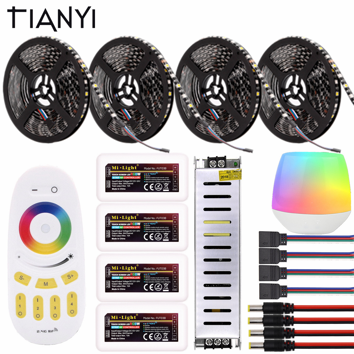 Mi lumière WIFI RGBW RGBWW RGB LED bande étanche noir PCB 5050 DC12V 60 LED/m LED lumières néon Flexible pour la décoration de noël