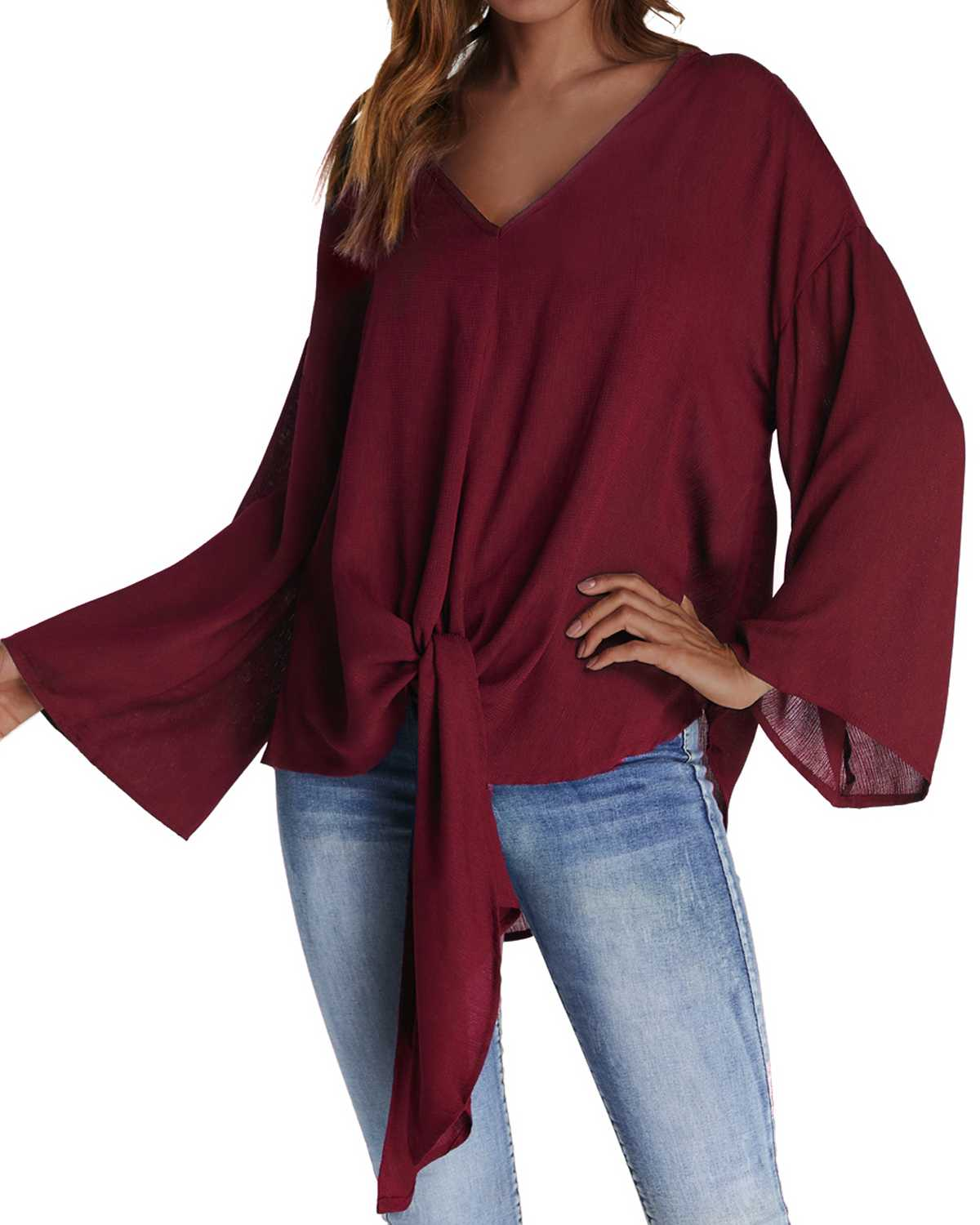 ZANZEA 2019 Spring Women Chiffon   Blouse     Shirt   Casual Solid Color Long Pullover Tops Loose Sexy V-Neck Bat Sleeve   Shirts   Big Size