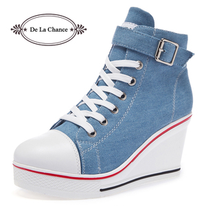 Image 1 - 2018 New Fashion Women High Top Canvas Sneakers Wedges Shoes Womens Denim Ankle Lace Up Ladies Ankle Canvas Shoes Woman