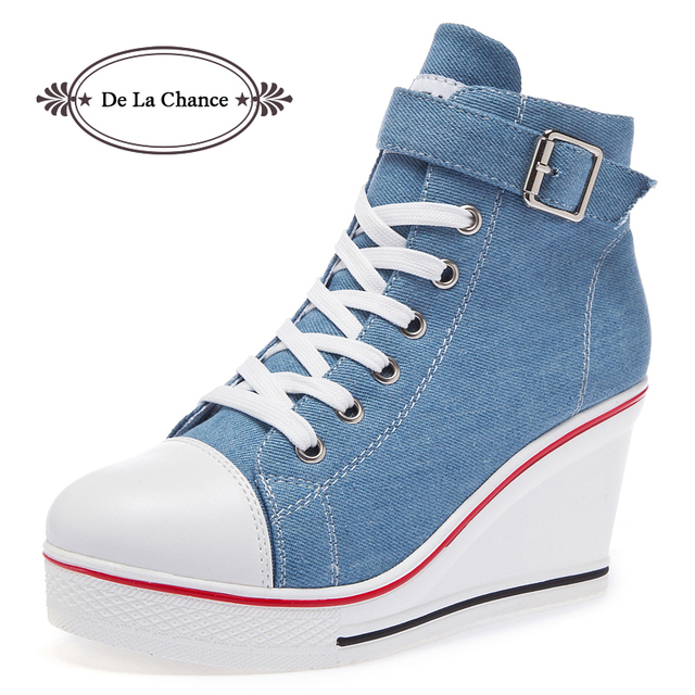 2018 New Fashion Women High Top Canvas Sneakers Wedges Shoes Womens Denim Ankle Lace Up Ladies Ankle Canvas Shoes Woman