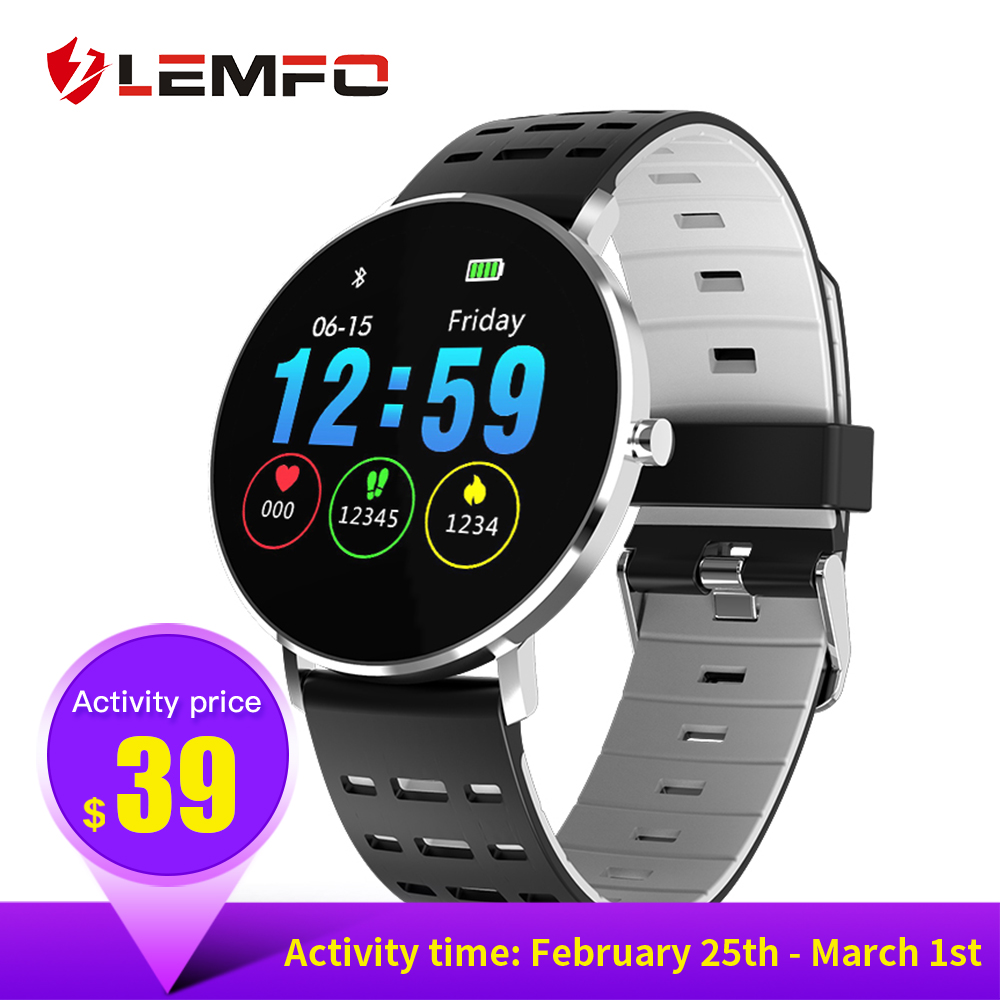 LEMFO Смарт-часы с полной поверхности Touch Экран IP68 Водонепроницаемый Smartwatch Поддержка нескольких видов спорта режимы мониторинга сердечного р...
