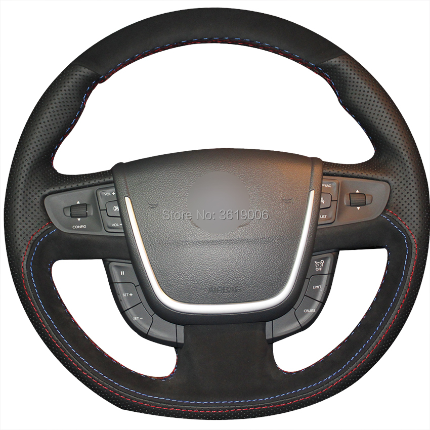 DIY Steering Wheel Cover Black Suede Black Leather Hand Sewing For Peugeot 508