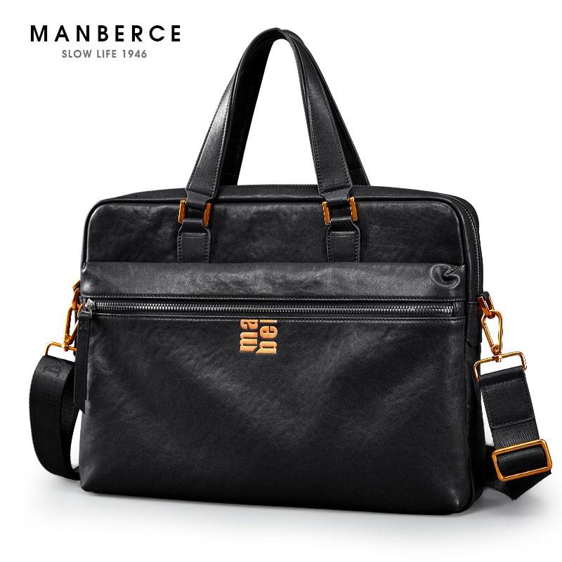 MANBERCE Brand Men's Briefcases Men Shoulder Bags Brand Genuine Leather Handbag Cowhide Messenger Bag Travel Tote Laptop Bags