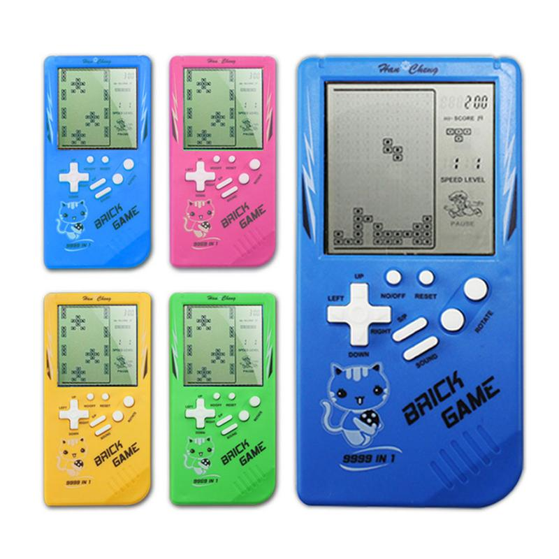 Retro Classic Handheld Tetris Game Console Portable Children Mini Nostalgic Built Large Screen Tetris Game Machine Random Color