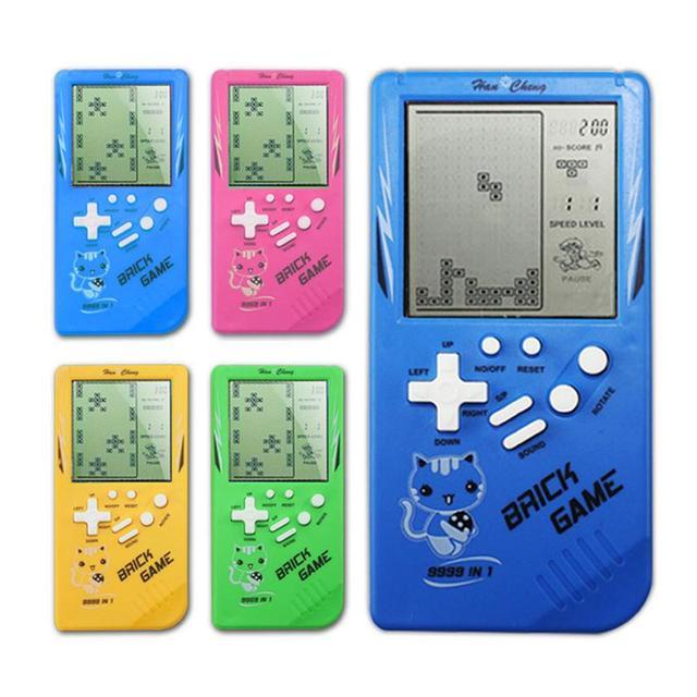 Retro Klasik El Tetris Oyun Konsolu Taşınabilir Çocuk Mini Nostaljik Dahili Büyük Ekran Tetris Oyun Makinesi Rastgele Renk